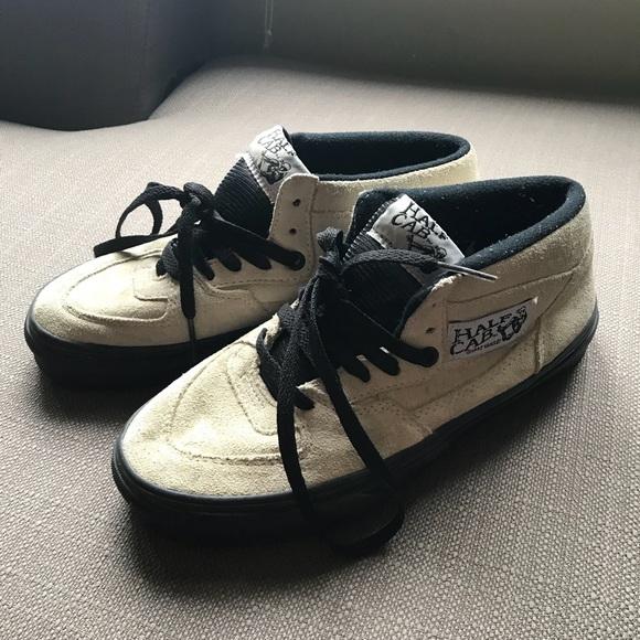 Vans white suede Half Cab skate shoes. M 5a9edb7d72ea889a92f03919 e5b2c4d30